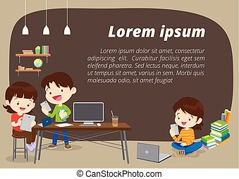 E-learning concept background illustration