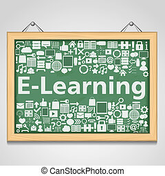 E-Learning concept - Blackboard with different education...