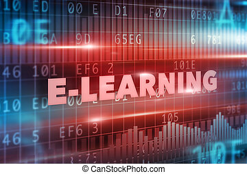 E-learning concept red text red background