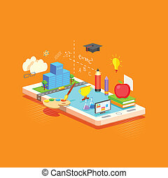 e learning Concept - illustration of e learning concept on...