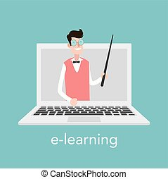 E-learning concept for online school. Vector laptop on blue background