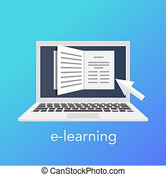 E-learning concept for online school. Vector laptop on the blue background