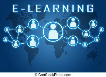 E-learning concept on blue background with world map and...