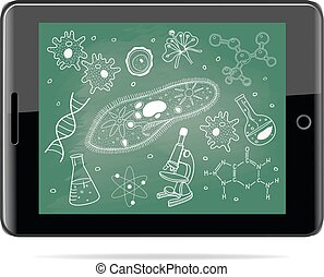 e-learning concept. Tablet computer with biology sketches on school board.