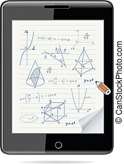 e-learning concept. Tablet computer with mathematics - geometric shapes and expressions sketches