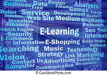 E-learning concept with internet related words