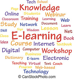 E-learning concept words cloud. A vector illustration.