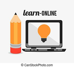e- learning design. - e-learning design over white...
