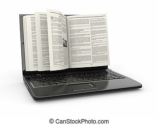 e-learning., draagbare computer, scherm, als, boek, op wit,...