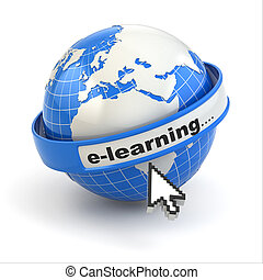 E-learning. Earth and mouse cursor on white background.