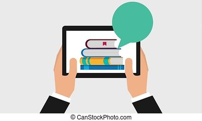 e-learning education related - hands holds tablet computer...