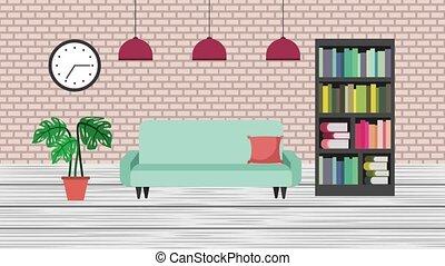 e-learning education related - interior library bookshelf...