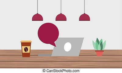 e-learning education related - laptop coffee cup plant...