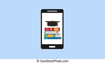 e-learning education related - smartphone graduation hat and...