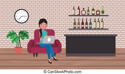 e-learning education related - student girl sitting on sofa...