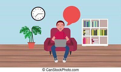 e-learning education related - student guy sit on sofa with...