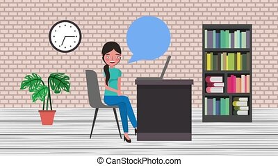 e-learning education related - student woman in desk pc...