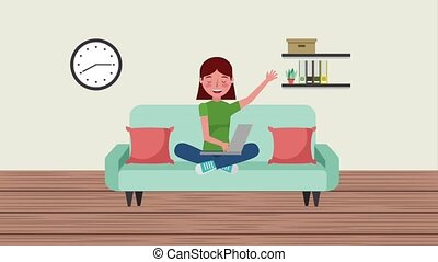 e-learning education related - student woman sit in sofa...