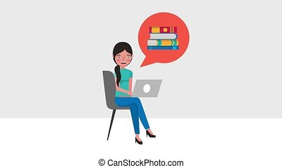 e-learning education related - student woman sitting in...