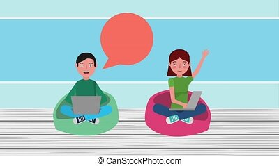 e-learning education related - students girl and boy sitting...