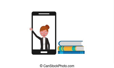 e-learning education related - teacher in screen smartphone...