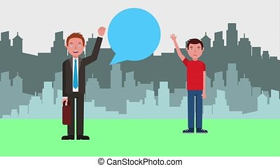 e-learning education related - teacher man and young guy...