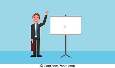 e-learning education related - teacher man waving hand with...