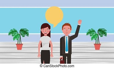 e-learning education related - teacher woman and man talking...