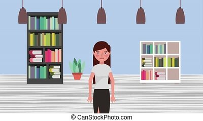 e-learning education related - teacher woman in library...