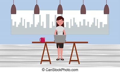 e-learning education related - teacher woman in office table...
