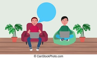 e-learning education related - two students men sitting with...