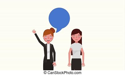 e-learning education related - two teacher women characters...