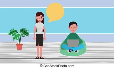 e-learning education related - woman teacher and student...