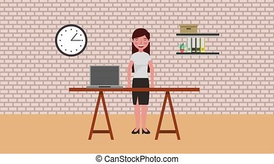 e-learning education related - woman teacher in room with...