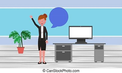e-learning education related - woman teacher in workspace...