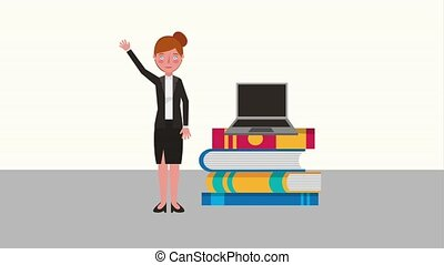e-learning education related - woman teacher waving hand...