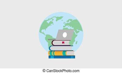 e-learning education related - world laptop speech bubble...