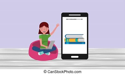 e-learning education related - young girl pupil online...