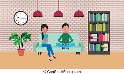 e-learning education related - young man and woman sitting...