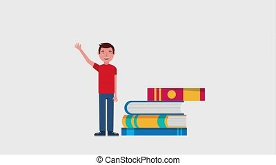e-learning education related - young man standing near...