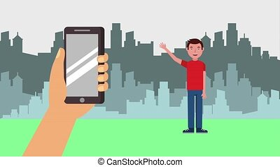 e-learning education related - young man waving hand holds...