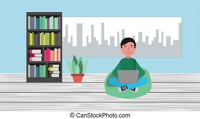 e-learning education related - young man with laptop sitting...
