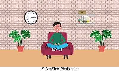 e-learning education related - young student boy sitting on...