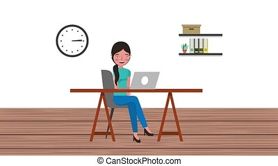 e-learning education related - young student girl using...