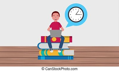 e-learning education related - young student man sitting on...