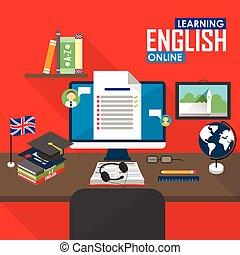 E-learning English language. - Flat design vector...