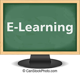 E-Learning - Computer monitor with blackboard instead of...