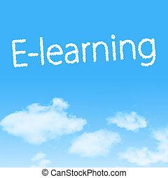 e-learning, felhő, ikon, noha, tervezés, képben látható, kék ég, háttér