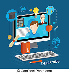 E-learning flat poster