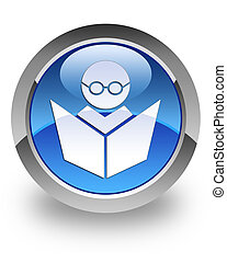 E-learning glossy icon - E-learning icon on glossy blue...